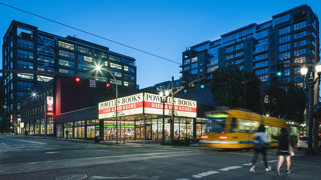 Powell's Books - exterior at night