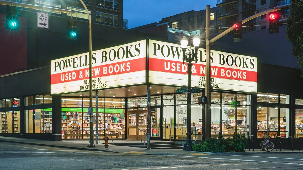 Powell's Books - main entrance at night